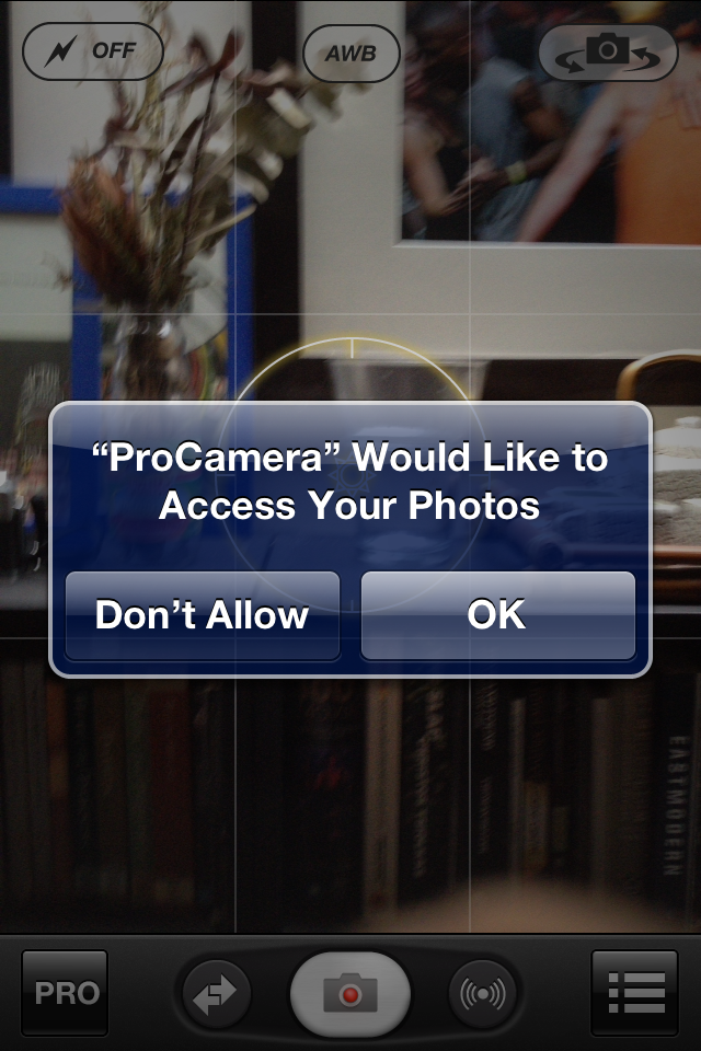 ProCamera and new iPhone iOS 6 Privacy Settings - Turning on