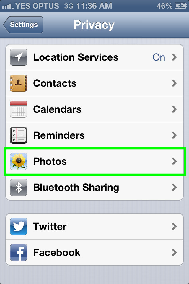 procamera and new iphone ios 6 privacy settings