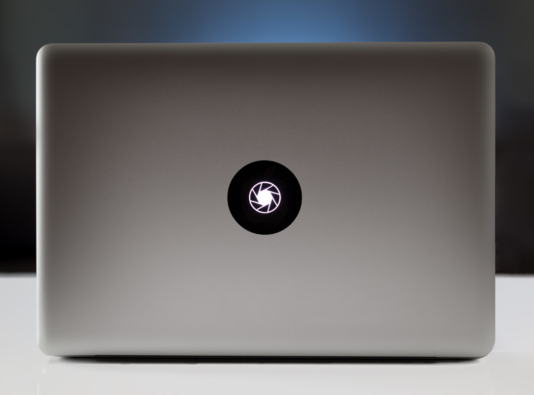 Stand out from the crowd with our brand new procamera macbook stickers place one over the illuminated apple logo on the lid of your macbook and it will