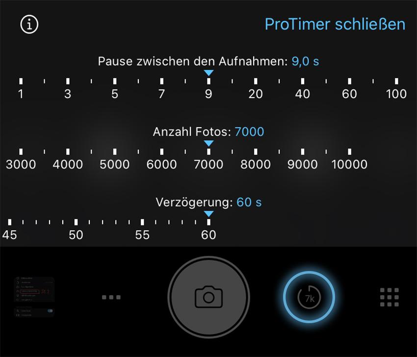 ProTimer Intervalometer Einstellungen ProCamera