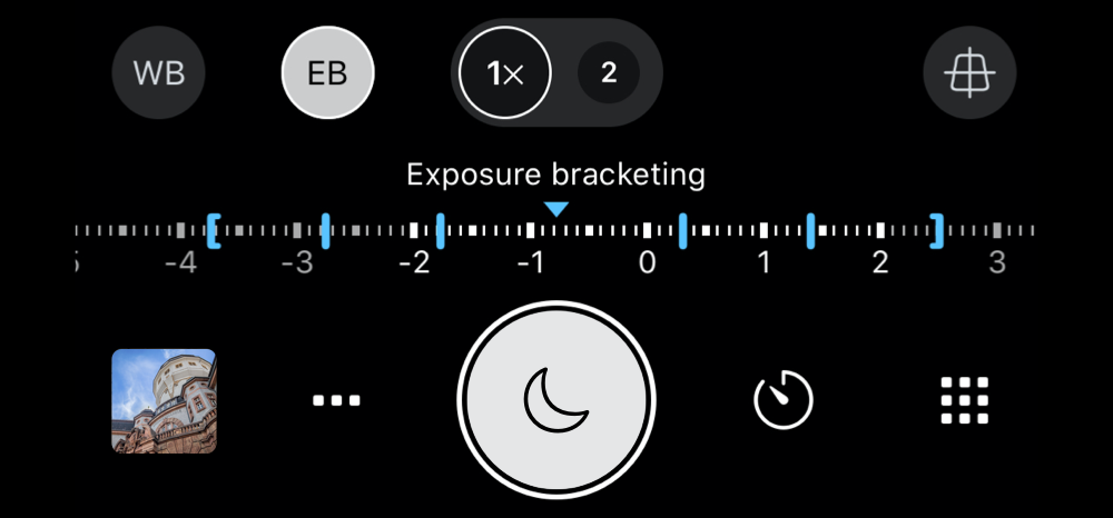 EB Exposure Bracketing feature in ProCamera's LowLight mode