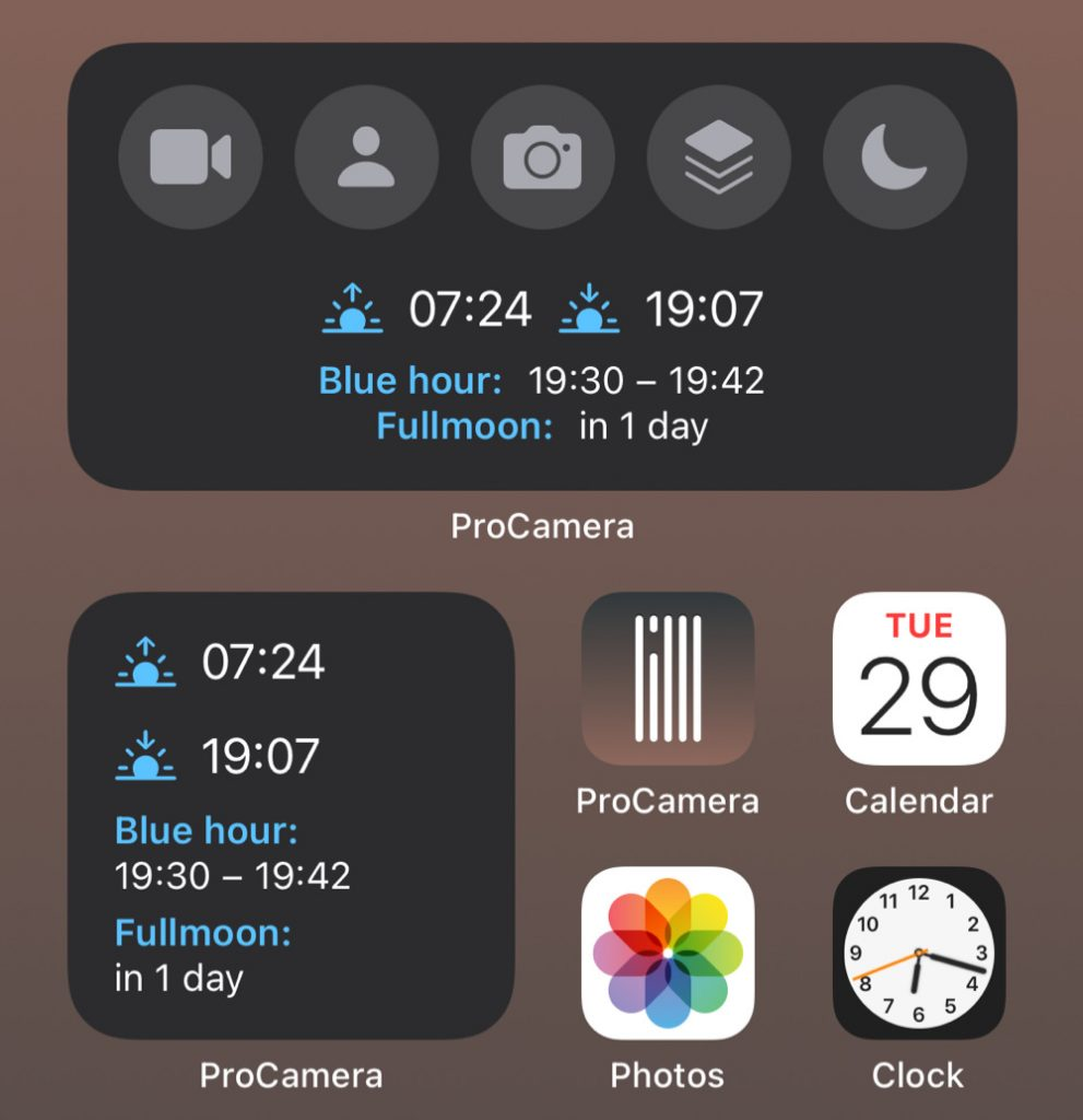 ProCamera iOS 14 Widget iPhone Home Screen