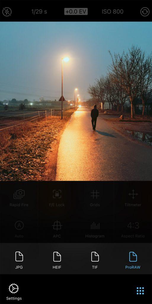 ProCamera ProRAW File Format Selection in Control Panel Screenshot