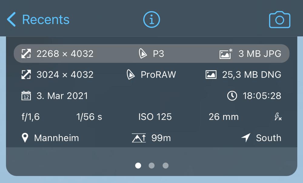ProCamera EXIF Metadata Viewer Instant Development RAW