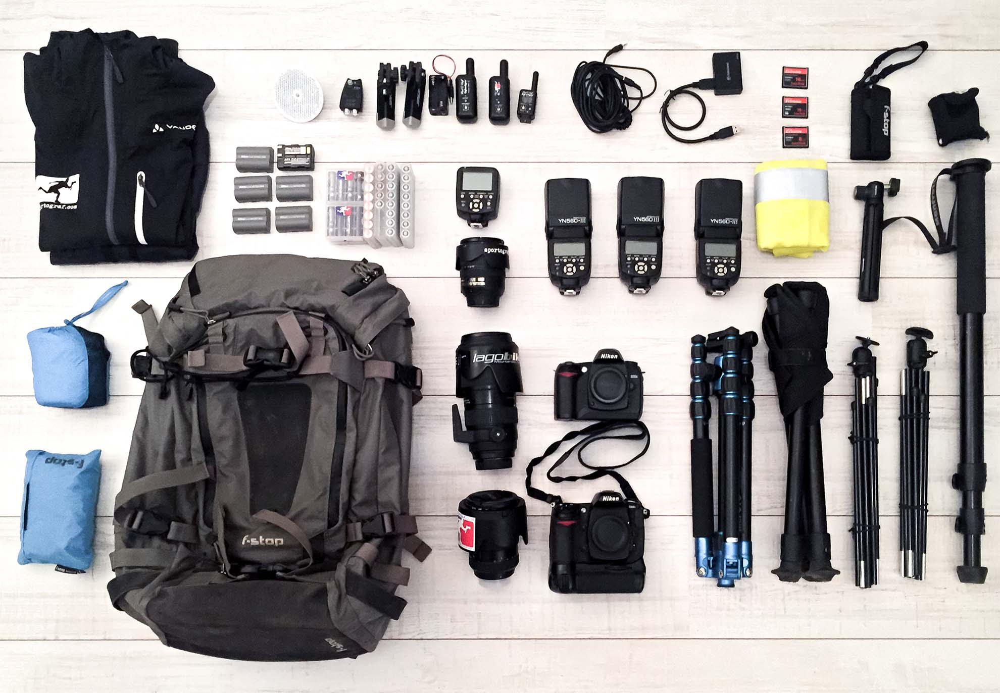 All the heavy gear before switching to lighter mobile photo gear